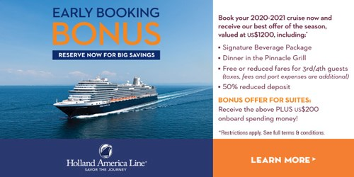 Holland America Early Booking Bonus