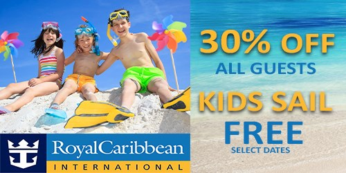 Royal 30% off all guests, plus Kids Sail Free